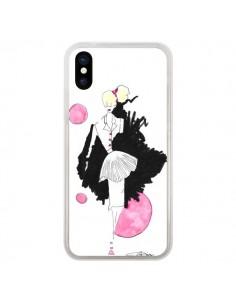 Coque iPhone X et XS Demoiselle Femme Fashion Mode Rose - Cécile