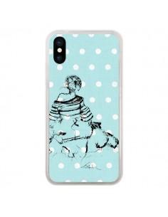Coque iPhone X et XS Croquis Pois Femme Fashion Mode - Cécile