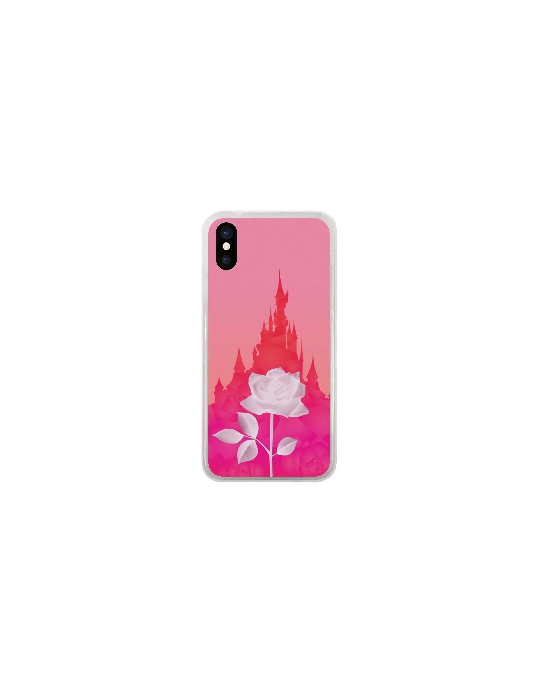 coque iphone x et xs chateau la belle et la bête rose enilec