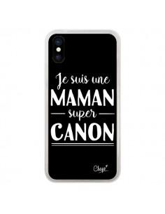 Coque iPhone X et XS Je suis une Maman super Canon - Chapo