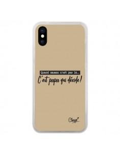 Coque iPhone X et XS C'est Papa qui Décide Beige - Chapo