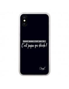 Coque iPhone X et XS C'est Papa qui Décide Noir - Chapo
