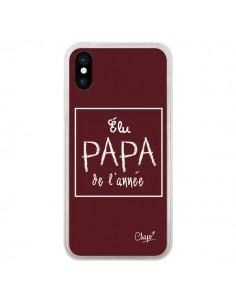 Coque iPhone X et XS Elu Papa de l'Année Rouge Bordeaux - Chapo