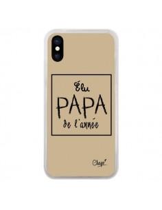 Coque iPhone X et XS Elu Papa de l'Année Beige - Chapo