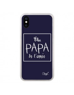 Coque Elu Papa de l'Année Bleu Marine pour iPhone X - Chapo