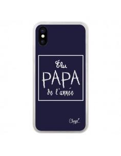 Coque iPhone X et XS Elu Papa de l'Année Bleu Marine - Chapo