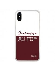 Coque iPhone X et XS Je suis un Papa au Top Rouge Bordeaux - Chapo