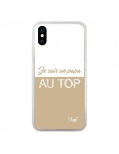 Coque iPhone X et XS Je suis un Papa au Top Beige - Chapo