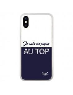 Coque iPhone X et XS Je suis un Papa au Top Bleu Marine - Chapo