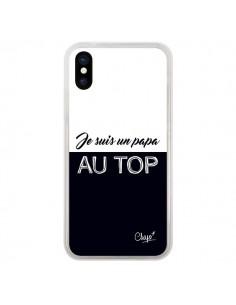Coque iPhone X et XS Je suis un Papa au Top Noir - Chapo