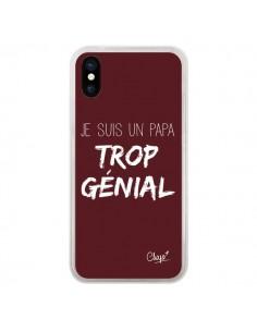 Coque iPhone X et XS Je suis un Papa trop Génial Rouge Bordeaux - Chapo