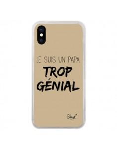 Coque iPhone X et XS Je suis un Papa trop Génial Beige - Chapo