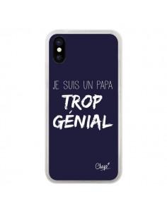 Coque iPhone X et XS Je suis un Papa trop Génial Bleu Marine - Chapo