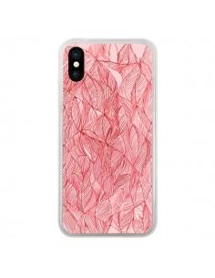 Coque Courbes Meandre Rouge Cerise pour iPhone X - Elsa Lambinet