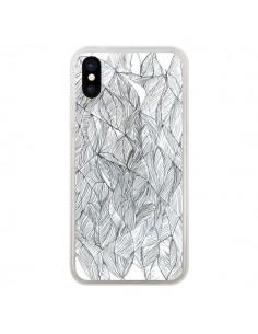Coque Courbes Meandre Blanc Noir pour iPhone X - Elsa Lambinet