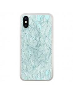 Coque Courbes Meandre Bleu Vert Nuageux pour iPhone X - Elsa Lambinet