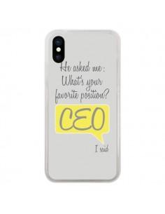 Coque What's your favorite position CEO I said, jaune pour iPhone X - Shop Gasoline