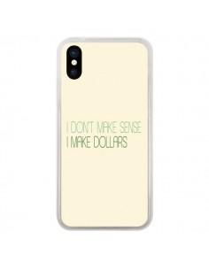 Coque iPhone X et XS I don't make sense, I make Dollars, beige - Shop Gasoline