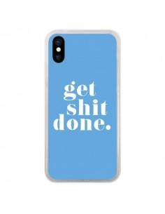 Coque iPhone X et XS Get Shit Done Bleu - Shop Gasoline