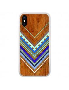 Coque iPhone X et XS Azteque Arbutus Blue Bois Aztec Tribal - Jenny Mhairi