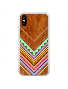 Coque iPhone X et XS Azteque Arbutus Pastel Bois Aztec Tribal - Jenny Mhairi