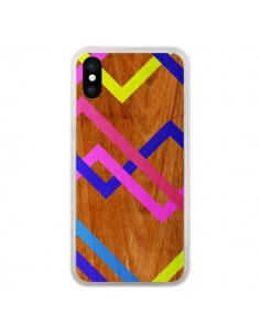 Coque iPhone X et XS Pink Yellow Wooden Bois Azteque Aztec Tribal - Jenny Mhairi