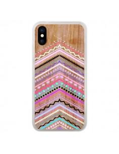 Coque iPhone X et XS Purple Chevron Wild Wood Bois Azteque Aztec Tribal - Jenny Mhairi