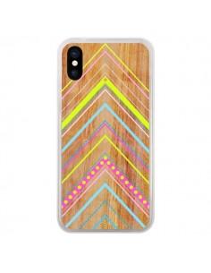 Coque iPhone X et XS Wooden Chevron Pink Bois Azteque Aztec Tribal - Jenny Mhairi