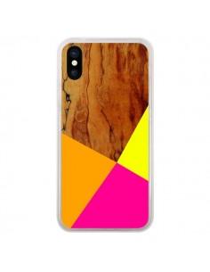 Coque iPhone X et XS Wooden Colour Block Bois Azteque Aztec Tribal - Jenny Mhairi
