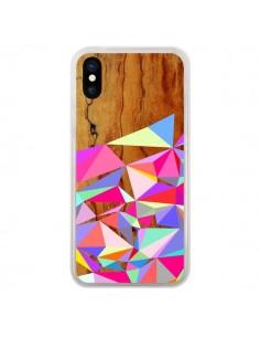 Coque iPhone X et XS Wooden Multi Geo Bois Azteque Aztec Tribal - Jenny Mhairi