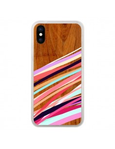 Coque iPhone X et XS Wooden Waves Coral Bois Azteque Aztec Tribal - Jenny Mhairi