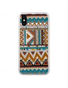 Coque iPhone X et XS Azteque Vert Marron - Kris Tate