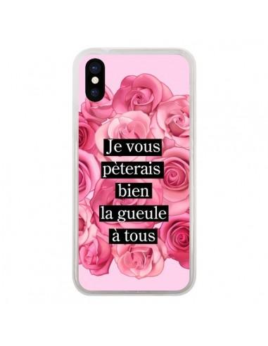 Coque iPhone X et XS Je vous pèterais Fleurs - Maryline Cazenave
