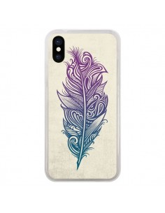Coque Feather Plume Arc En Ciel pour iPhone X - Rachel Caldwell