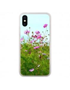 Coque Fleurs Roses Champ pour iPhone X - R Delean