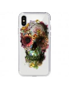 Coque iPhone X et XS Skull Flower Tête de Mort Transparente - Ali Gulec