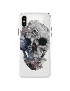 Coque iPhone X et XS Floral Skull Tête de Mort Transparente - Ali Gulec