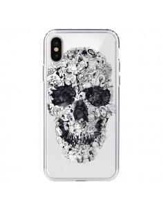 Coque iPhone X et XS Doodle Skull Dessin Tête de Mort Transparente - Ali Gulec