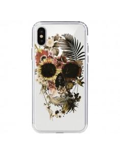 Coque iPhone X et XS Garden Skull Tête de Mort Transparente - Ali Gulec