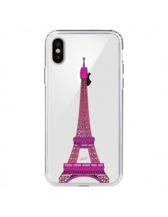 Coque iPhone X et XS Tour Eiffel Rose Paris Transparente - Asano Yamazaki