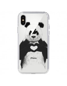 Coque Panda All You Need Is Love Transparente pour iPhone X - Balazs Solti