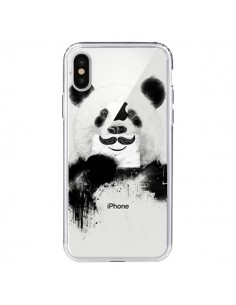 Coque Funny Panda Moustache Transparente pour iPhone X - Balazs Solti