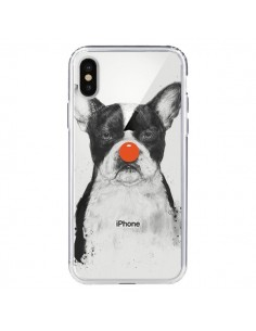 Coque Clown Bulldog Dog Chien Transparente pour iPhone X - Balazs Solti
