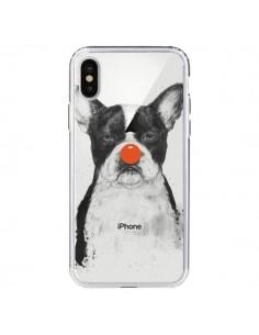 Coque iPhone X et XS Clown Bulldog Dog Chien Transparente - Balazs Solti