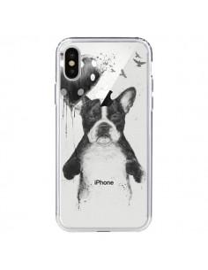 Coque iPhone X et XS Love Bulldog Dog Chien Transparente - Balazs Solti