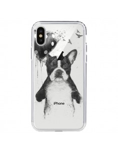 Coque Love Bulldog Dog Chien Transparente pour iPhone X - Balazs Solti