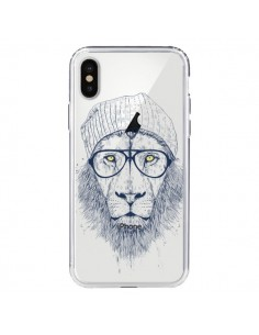 Coque iPhone X et XS Cool Lion Swag Lunettes Transparente - Balazs Solti