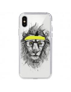 Coque iPhone X et XS Hipster Lion Transparente - Balazs Solti