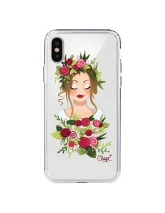Coque Femme Closed Eyes Fleurs Transparente pour iPhone X - Chapo