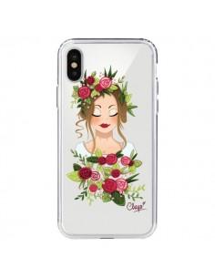 Coque iPhone X et XS Femme Closed Eyes Fleurs Transparente - Chapo